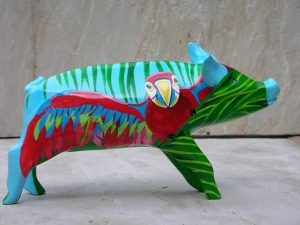 Parrot Pig. Acrylic on Plaster.