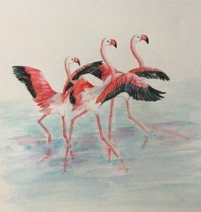 Flapping flamingos, Watercolour