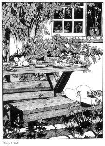 Original Line drawing. Garden. Pen and Ink